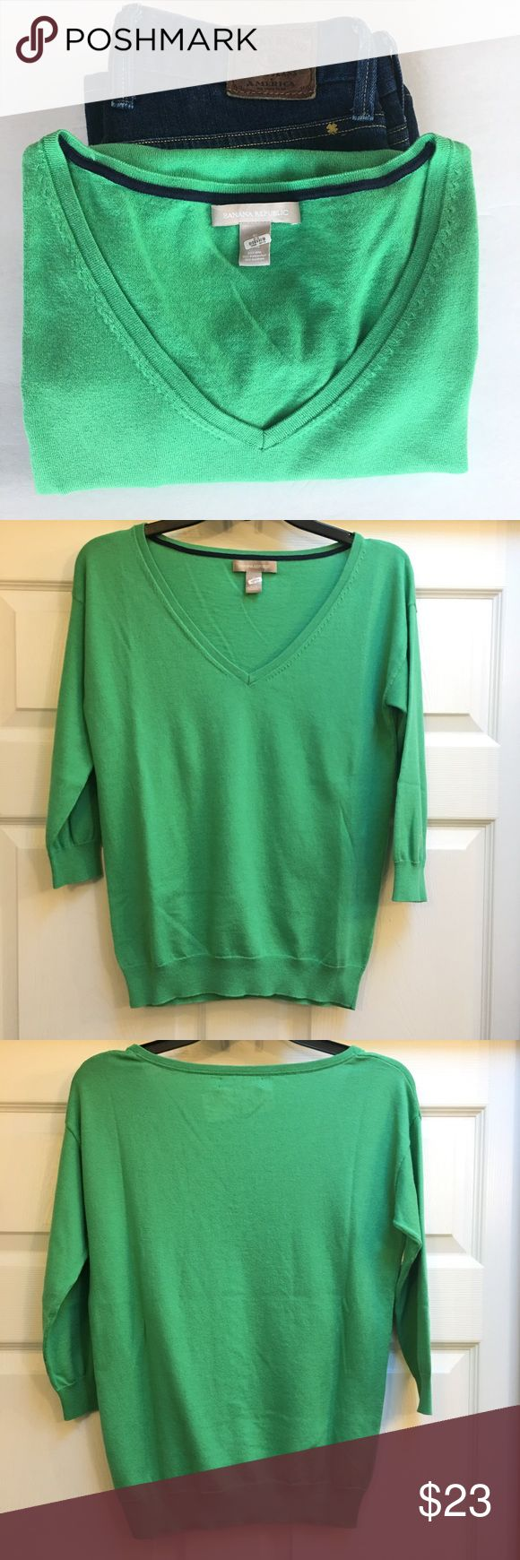Banana Republic Sweater Soft green v neck pullover. This is a classic sweater that can be worn any time of the year. Silk blend makes this super soft and comfortable. Size S. Very good condition.    🚫 No Trades 💯% Authentic  💵 Offers welcome 💰Bundled discount 📦 Ships in 1-2 days Banana Republic Sweaters V-Necks