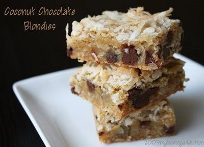 throw in a few tablespoons of peanut butter and thank me later... (Coconut Chocolate Blondies from mybakingaddiction.com)