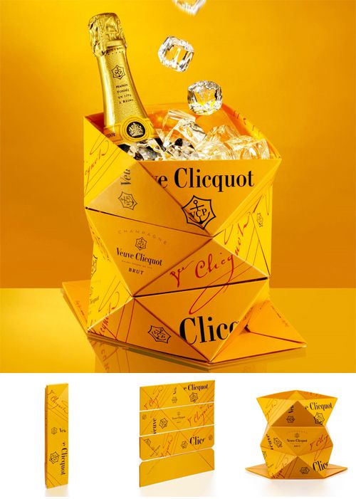 """""""Clicq'up"""", a foldable ice bucket  Belgian designer Mathias van de Walle and Veuve Clicquot created 'clicq'up', an ice bucket that can be folded.    The design will debute at Milan design week 2011.  The bucket is based on the concept of champagne on ice, it features  a angular form that can be folded for easy transportation, use and storage."""