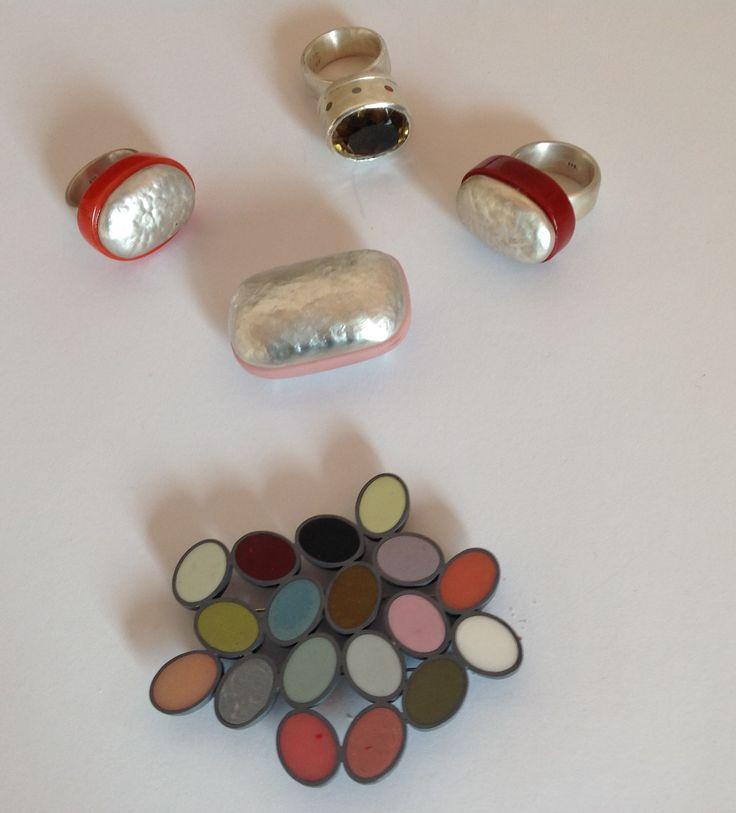 Gerika Langenhoven-Cape Town-silver, resin, Lemon Quartz-rings and brooches