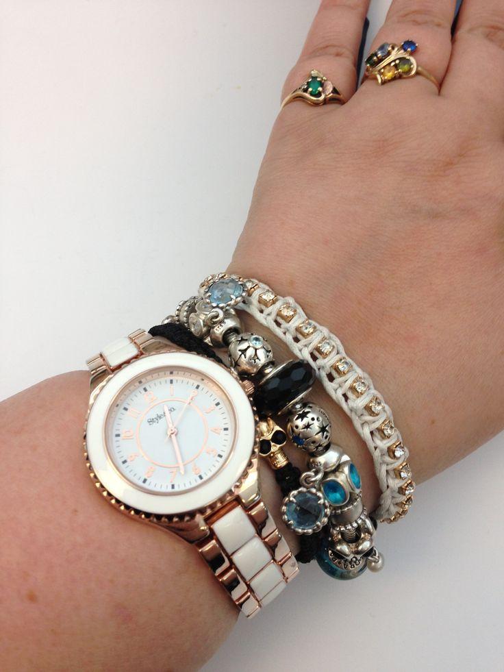 Stacking My Black And Sky Blue Pandora Bracelet With Cara