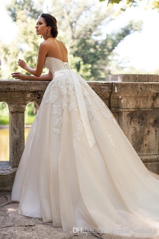 Millanova Country Wedding Dresses 2017 Lace Applique A-Line Lace up Back With Be…