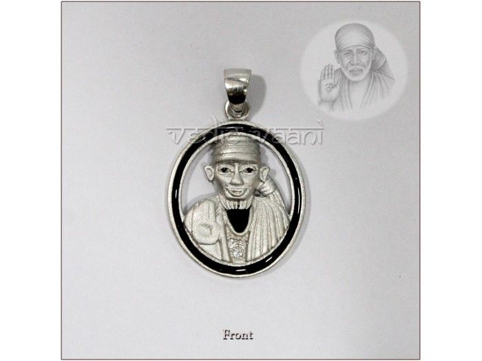 Saibaba Blessing Locket in Sterling Silver buy online from India : Lord Saibaba locket in pure silver with small diamond studded on that gives it an attractive look.  Baba preached at Shirdi all his life and performed numerous miracles to convince people that God exists.He healed people's diseases, provided moral and material comfort to his devotees. Sai Baba remains a very popular saint, especially in India, and is worshiped by people around the world.