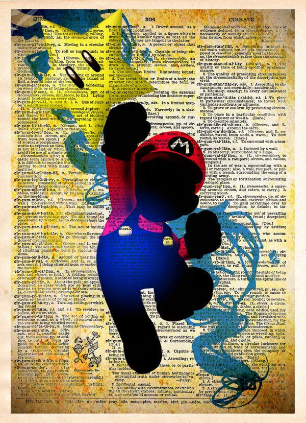 Mario art, Super Mario brothers artwork printed in a cool pop art style on vintage dictionary page These unique and original artwork are printed on authentic vintage early 1900's dictionary paper from