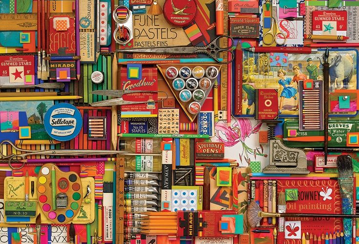 2000 pc Vintage Art Supplies jigsaw puzzle | Item 50711 | Cobble Hill Puzzle Co
