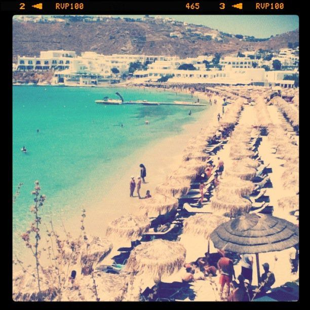 Platy Gialos Beach in Mykonos. Read Part IV: Local Color, about my summer escapades there, in my blog.