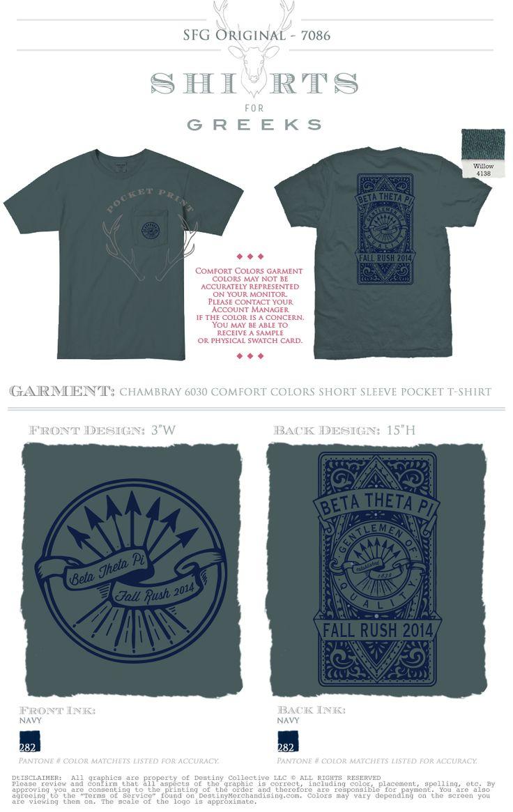 Design t shirt with front pocket - Beta Theta Pi Fall Rush Arrows Greek Life Recruitment Gentlemen Of