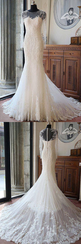 Long Sleeve Wedding Dresses Mermaid, Princess Wedding Dress Modest, Scoop Neck Bridal Dresses Tulle Beading