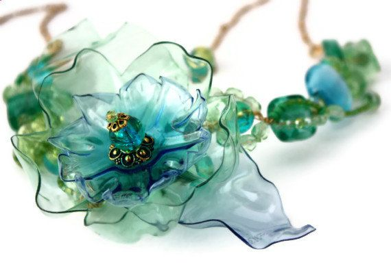Sea Glass Statement Necklace, Green Aqua Blue, Sea Beach, Bridal Beachglass, upcycled plastic bib,  Murano wedding jewelry, Flower Chihuly