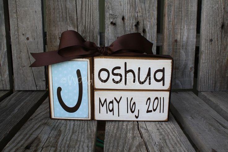 Baby boy girl birth name blocks wood custom nursery room decor gift shower personalized announcement. $17.95, via Etsy.