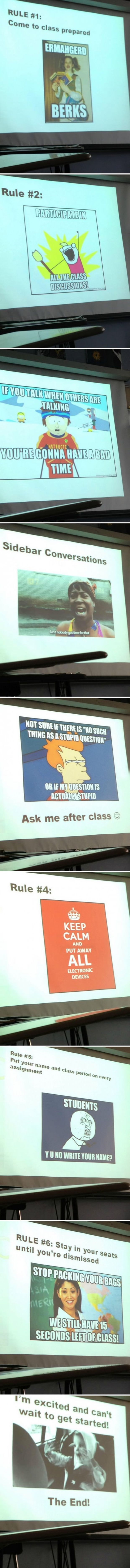 Funny Teacher Tells Teenagers His Class Rules In A Way They Will Understand – 9 Pics