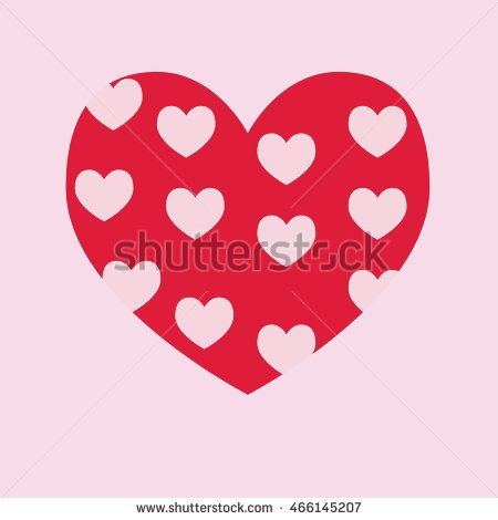 Red heart icon vector with love pattern . Vector Illustration. Heart icon. Love…