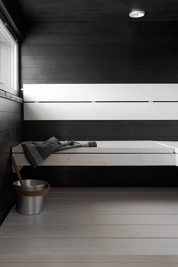 Sauna created by using Tikkurila's Supi Sauna #tikkurila #sauna #monochrome