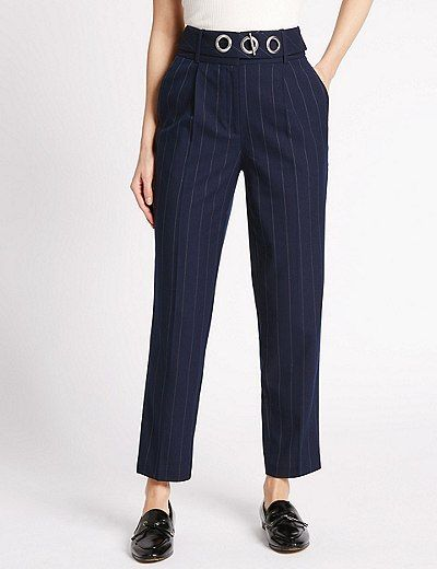 Printed Tapered Leg Trousers | Marks & Spencer London