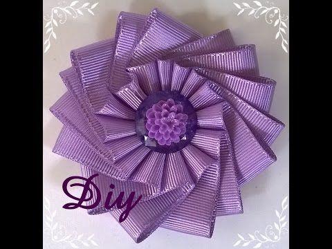 Flor de fita de gorgurão DIY  Ribbon flower - YouTube
