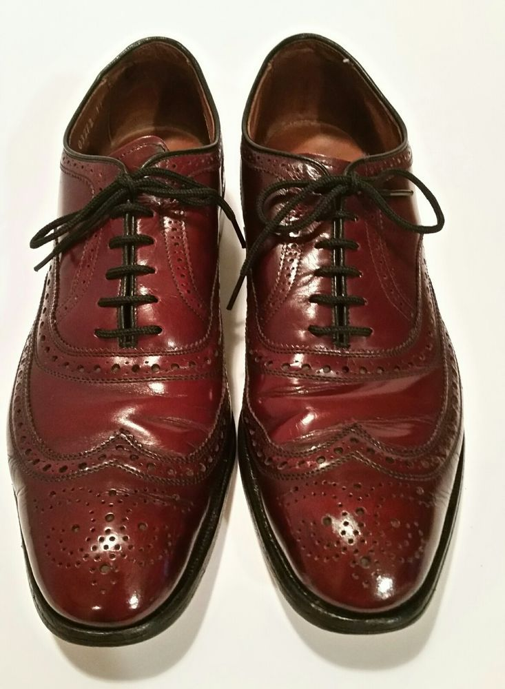 Allen Edmonds McAllister Wingtip Lace Up Oxford Dress Shoes Oxblood Brouge 9.5 B #AllenEdmonds #WingTip #Formal