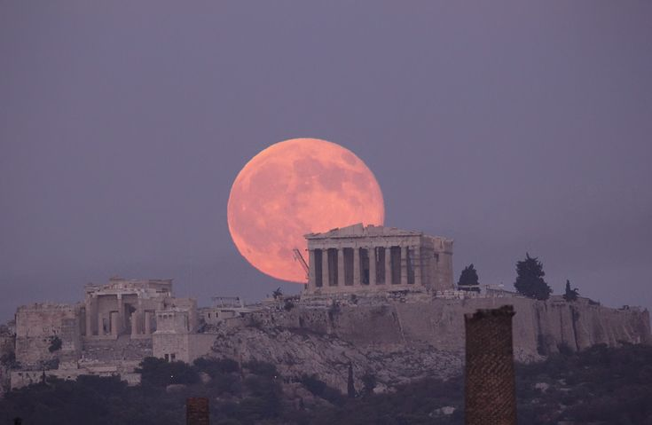 The Parthenon & a beautiful moon -- The Acropolis, Athens, Greece