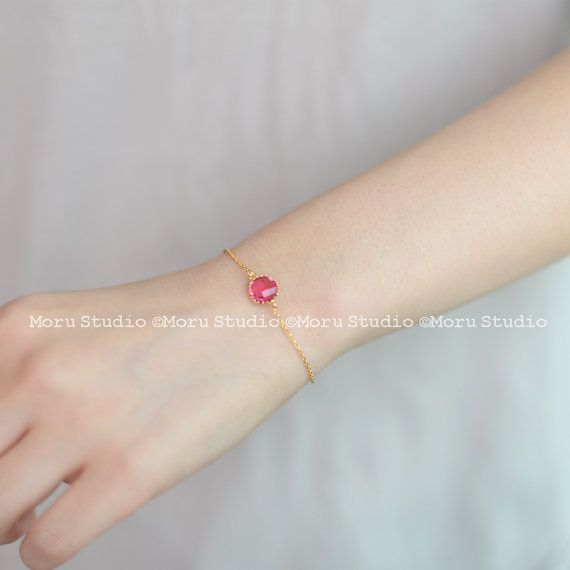 Initial Birthstone Bracelet/ Personalized Birthstone by MoruStudio