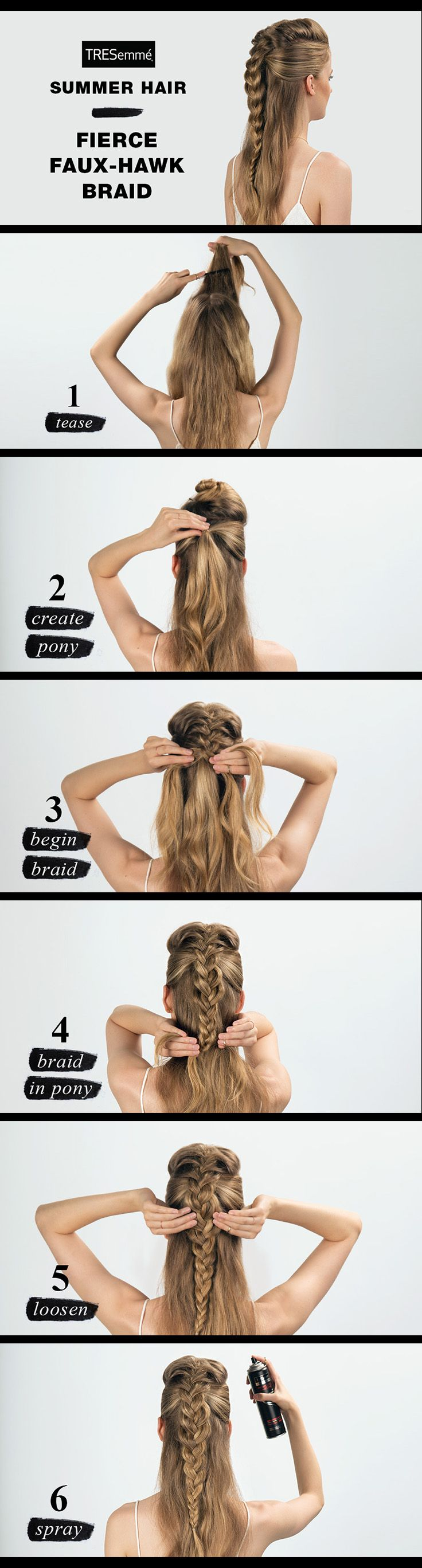 The boardwalk is your catwalk, so go bold with a Faux Hawk Braid. 1. Spray TRES Perfectly (un)Done Sea Salt Spray. Curl with flat iron & finger comb. Separate top half of hair into 3 pieces & tease middle piece. 2. Clip middle piece & pull 2 side pieces into a pony. 3. Unclip & begin Dutch braid along center of head toward nape of neck. 4. When braid meets pony, incorporate pony into braid. 5. Secure braid & gently tug edges to loosen. 6. Finish with Perfectly (un)Done Ultra Brushable…