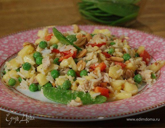 Рисовый салат с курицей, ананасом и сладким перцем . Ингредиенты: рис, лимоны, куриные бедра | Кулинарный сайт Юлии Высоцкой: рецепты с фото