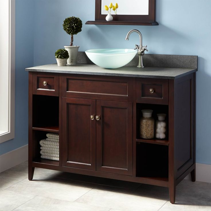 vessel sink vanity 24 inch double base walnut finish combo lowes
