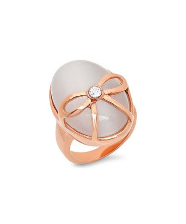 Look at this #zulilyfind! Rose Gold & Simulated Agate Bow Ring #zulilyfinds