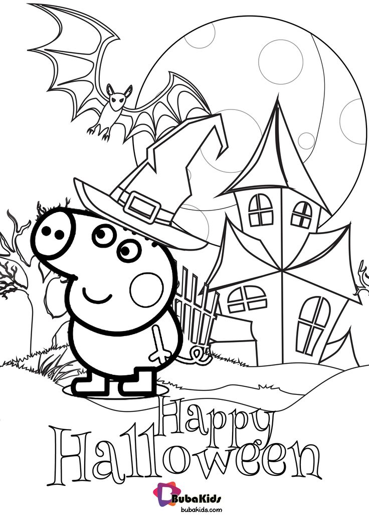 Peppa Pig Happy Halloween Coloring Page coloringpage ...