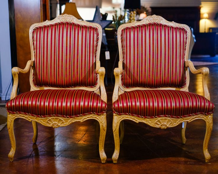 Red/Gold Accent Chairs