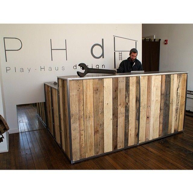 Reclaimed Timber Reception Desk Pilates Studio Decor