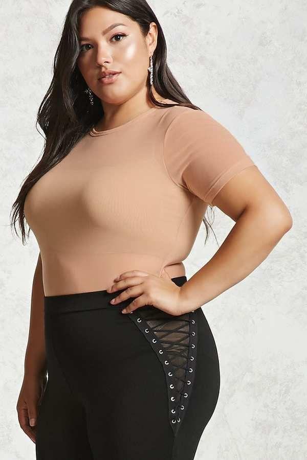 Forever 21 FOREVER 21+ Plus Size Sheer Mesh Bodysuit