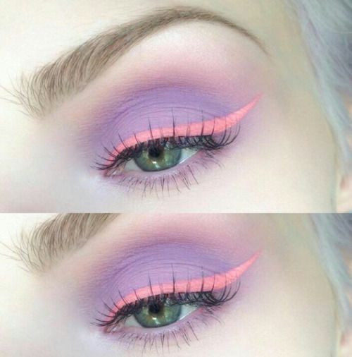 ..coral and lavender.. pretty!!! dk if I would ever do this but it looks cool