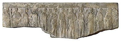Fragment of a Hellenistic relief depicting the Twelve OLYMPIANS carrying their attributes in procession; from left to right, Hestia (scepter), Hermes (winged cap and staff), Aphrodite (veiled), Ares (helmet and spear), Demeter (scepter and wheat sheaf), Hephaestus (staff), Hera (scepter), Poseidon (trident), Athena (owl and helmet), Zeus (thunderbolt and staff), Artemis (bow and quiver), and Apollo (cithara) (from the Walters Art Museum)  #airesford
