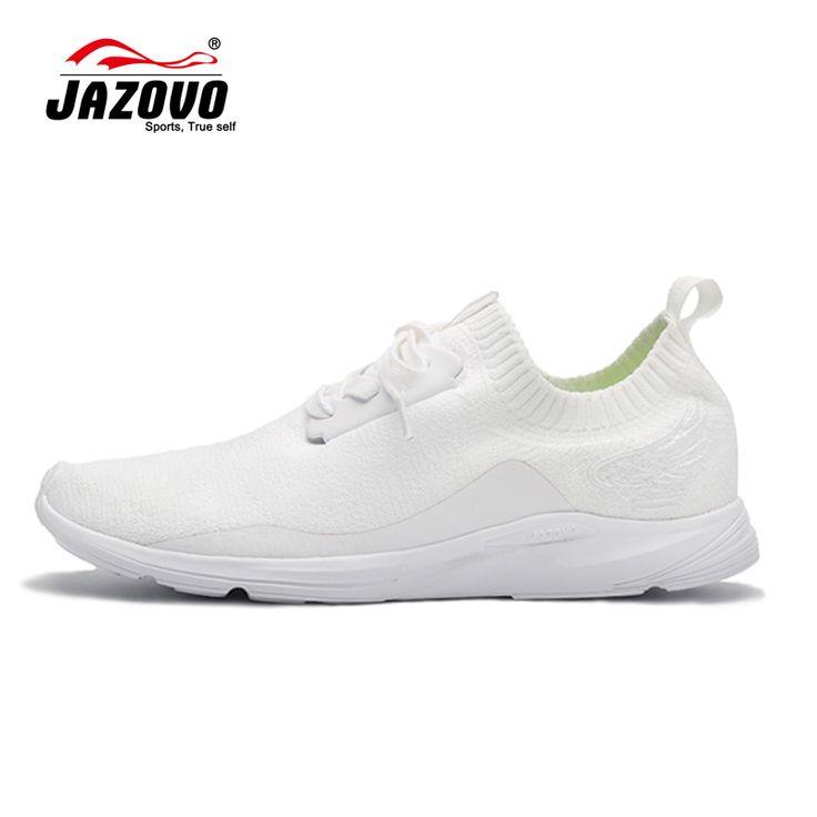 2016 JAZOVO Running Shoes Light air Mesh Outdoor Sports Black White Jogging Sneakers For Woman Flat Walking Trend Shoes