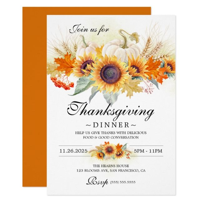 Pumpkins Sunflowers Thanksgiving Dinner Party Invitation Aff Dinner Part Thanksgiving Dinner Party Dinner Party Invitations Thanksgiving Dinner Invitation
