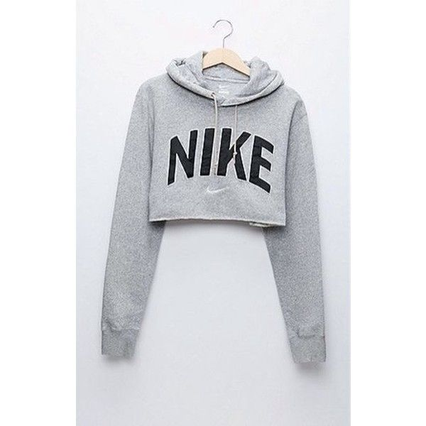 Sweater: crop grey cropped hoodie blouse cropped grey nike pinterest... ❤ liked on Polyvore featuring tops, hoodies, nike shirts, cropped tops, gray shirt, hooded sweatshirt and gray hoodie