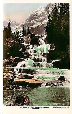 Paradise Valley Alberta Canada 1920s Real Photo Postcard Giants Steps Waterfall Paradise Valley Alberta Canada 1920s Giant Steps waterfall in Paradise Valley. Unused Camera Products Company hand color                                                                                                                                                                                 More