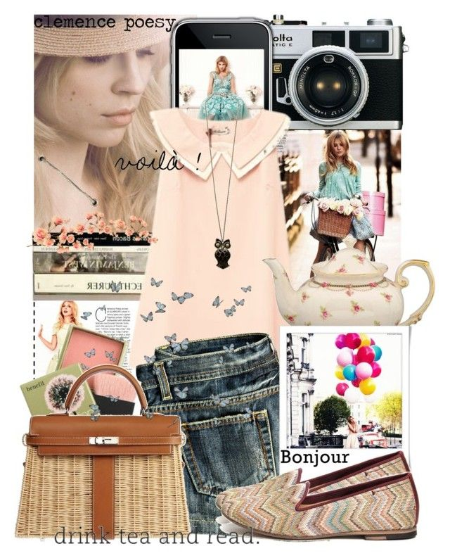 """""""Clemence Poesy"""" by blaircorneliawaldorf ❤ liked on Polyvore featuring Gracie, MANGO, H by Hudson, Benefit, Hermès, clemence poesy, shorts, h&m shoes, pink and i phon"""