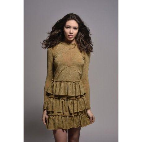Gold Fril Dress