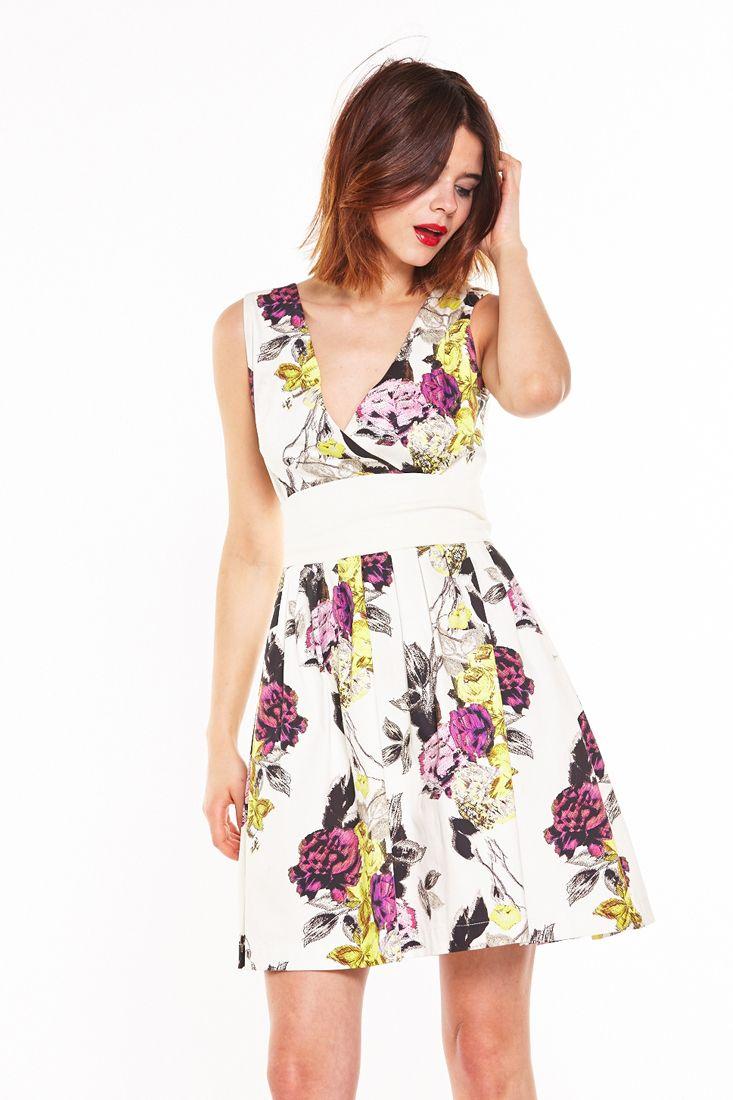 White Floral Short Dress by Liquorish - Short Floral Dresses Online.