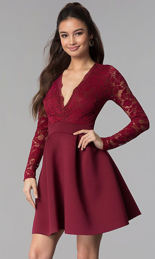 98a9967e5ed Lace and Scuba Long-Sleeve V-Neck Party Dress in 2019