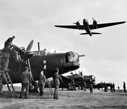 The Vickers Wellington saw service in the European theater, as a night bomber and later in South Asia and Africa. Later, in 1944, Wellington bombers were equipped with radar to help direct British Mosquito's, in an effort to attack, radar detected German He-111 bombers on their advancing raids. Today, this tactic, or technology, is still used. For example: America's AWAC's - which stands for - airborne warning and control system.