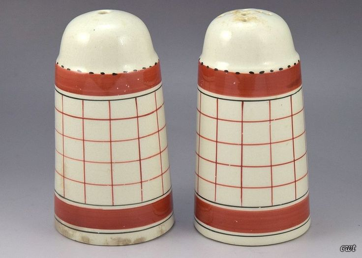 Pair of Vintage English British Anchor Salt & Pepper Shakers, Red Plaid