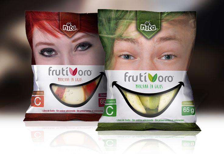 Envases para snack de manzanas frescas en trozos. Nita, Alimentos Saludables.