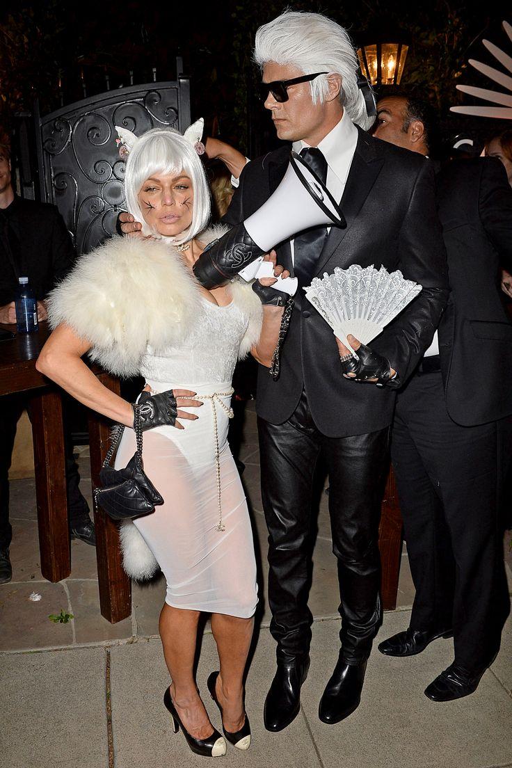 Fergie & husband Josh Duhamel as Choupette and Karl Lagerfeld.   - ELLE.com