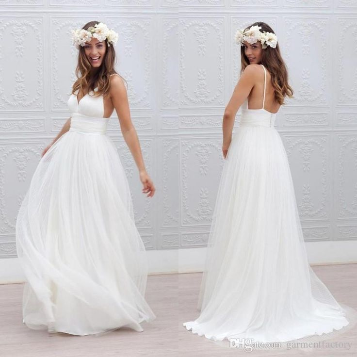 Romantic Bohemian Wedding Dresses Sexy Spaghetti Straps A Line Backless  Long Beach Wedding Dresses 2015 White Chiffon Boho Wedding Dress
