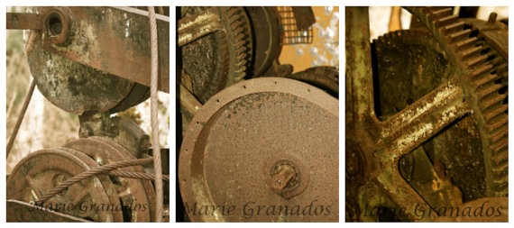 Set of 3 Machine photographs perfect for men by crzytrvlchic, $65.00