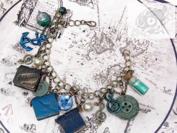 13 Treasures 'Song of the Sea' - Nautical steampunk charm bracelet with three Arkana library polymer clay books and other embellishments
