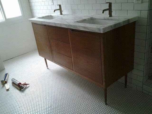 1000 ideas about modern bathroom vanities on pinterest - Mid century modern double bathroom vanity ...