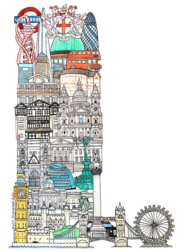 London - ABC illustration series of European cities by Japanese illustrator Hugo Yoshikawa http://www.hugoyoshikawa.com/City-ABC
