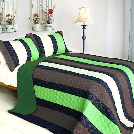 Minecraft Colors Teen Boy Bedding Full/Queen Quilt Set Lime Green Grey & Dark Navy Stripe